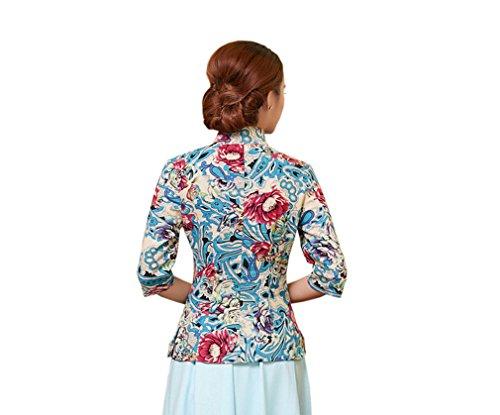 Imprimé A De Chinoise Plusieurs Chemise Rétro Couleurs Blouse Femme Veste Tang Fleur Acvip Style Pour Xw61CxE