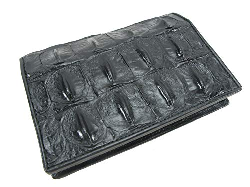 Passport Holder Crocodile - PELGIO Genuine Crocodile Alligator Skin Leather Passport Holder Wallet (Black)
