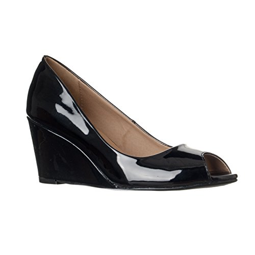 Open Toe Patent Leather Wedges (Riverberry Women's Addie Mid-height Peep Toe Wedge Pumps, Black Patent, 7.5)