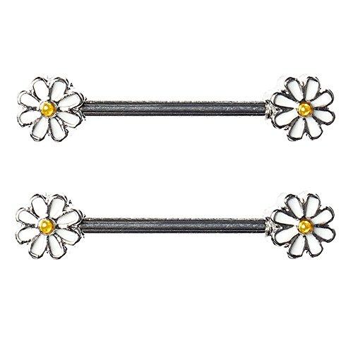 Nipple Ring (BODYA pair cute double enamel Spring Daisy Flower Nipple Barbell Ring piercing bar stainless steel 14g)