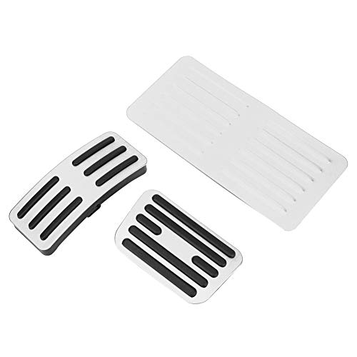 Tbest Brake Pedal Kit,Non-Slip Car Brake Pads Pedal Aluminum Auto Transmission Cover Set Fit for BYD Song (Silver)