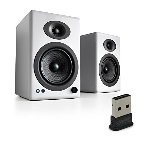 Audioengine A5+ Wireless Speakers (Pair) with Plugable USB 2.0 Bluetooth Adapter - White by Audioengine