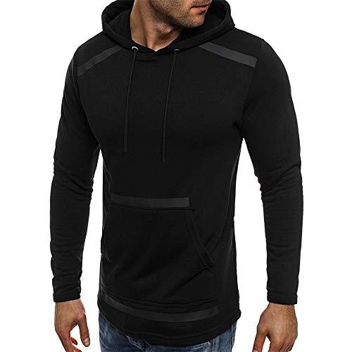 haoricu Mens' Long Sleeve Pocket Fleece Hooded Sweatshirt Autum Winter Outwear Tops by haoricu