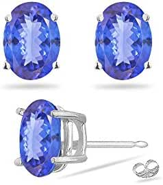 0.78-1.10 Cts of 6x4 mm AA Oval Tanzanite Stud Earrings in Platinum