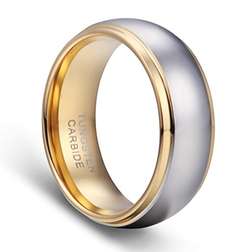Tusen Jewelry Men's Wedding Bands 18K Gold Plated Tungsten Wedding Ring Band Comfort Fit 8MM