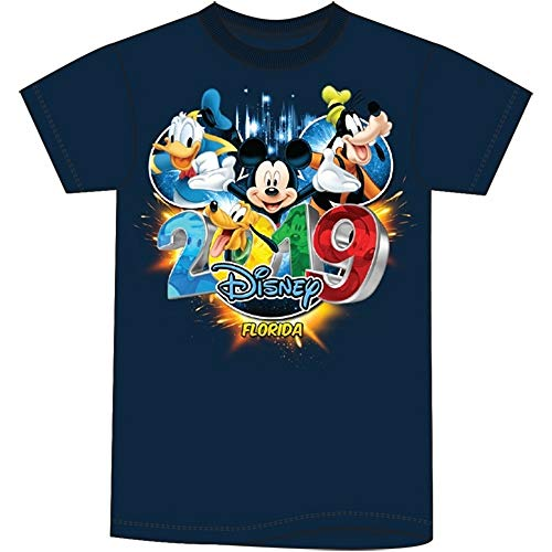 (Disney Toddler 2019 Dated Pop Out Mickey Goofy Donald Pluto (FL Namedrop) 2T Navy Blue Tee)