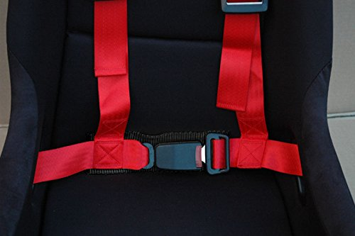 Red Rxmotor 4-Point Racing Seat Belt Harness Buckle 2 Inch Wide Nylon For Honda Civic Accord Toyota Corolla Subaru Mitsubishi Nissan Scion Infiniti Mazda Acura Integra