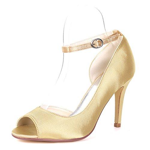 Mujer De Toe Raso Peep Nupcial Tacones L yc Para Buckle Champagne Tarde Sandalias Zapatos Plataforma La Gatito fiesta Boda Bombas wxX8OnC8