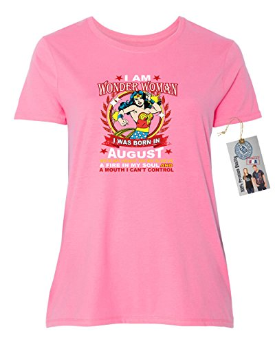 Superhero T Shirts Plus Size (Wonder Woman Born In August Superhero Plus Size Womens Short Sleeve T-Shirt Pink 2XL)