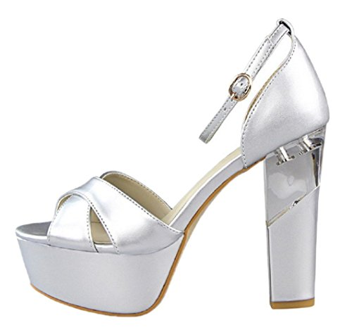 HooH Women's Peep Toe D'Orsay Platform Buckle Wedding Sandals Silver MvdZZHFpE