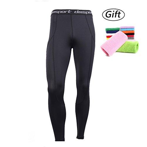 NEKO SPORTS Men's Compression Pants Baselayer Cool Dry Sports Tights Leggings Running Tights Long Pant (Medium, Black-Black-2) Sport Long Tights