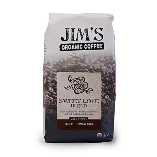 Jim's Organic Coffee Sweet Love Blend, Dark Roast, Whole Bean, 11 ounce