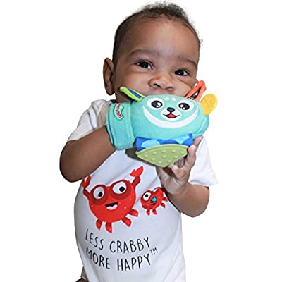Yummy Mitt Teething Mitten- -Natural Self-Soothing Handy Teething Remedy- 3-8 Months- 100% Cotton (NOT Polyester) and Side Teether Tabs (Yummy Buddy) : Baby