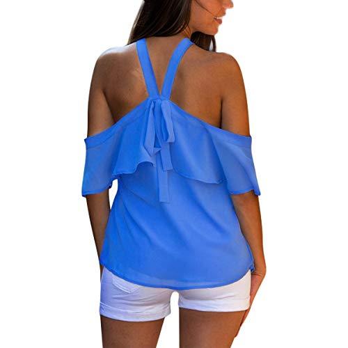 Couleur Bretelles en Nu Froide Chemise Mousseline Dos Bandage Bleu de Pure Sexy paule Soie Blouses x1wYU4S