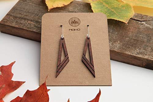 (Wood Earrings   Diagonal   Walnut )