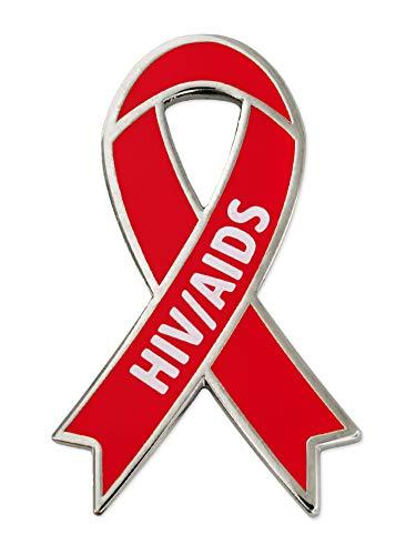 PinMart HIV and AIDS Red Awareness Ribbon Enamel Lapel Pin -