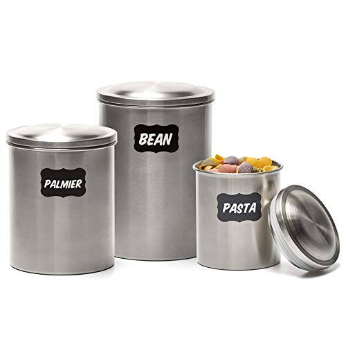 3 Stainless Steel Canisters - EZOWare 3 Piece Air Tight Stainless Steel Canister Kitchen Food Storage Can Container Jar Set with Lids and Labels for Tea Coffee Sugar Nuts Flour Food Grains Beans Pasta Cookies