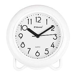 YINMING Bathroom Waterproof Clock, 7 Inches Non-Ticking Number Quartz Wall Clock, Adorable Desk & Shelf Clock, Living Room Decorative Indoor Clock, Kitchen Clock, Shower Clock,are Anti-Fog, White