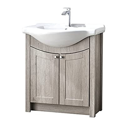 "RESSORTIR bathroom vanity, Grey Oak - Size: 26"" Wide by 19"" Deep by 37"" Tall FAUCET AND POP UP DRAIN NOT INCLUDE Constructed in laminate composite wood with 2 door - bathroom-vanities, bathroom-fixtures-hardware, bathroom - 41yMhlA0taL. SS400  -"