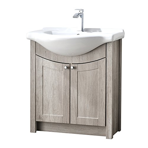 LifeSky LIF-BC022 Modern Bathroom Vanity, Grey Oak