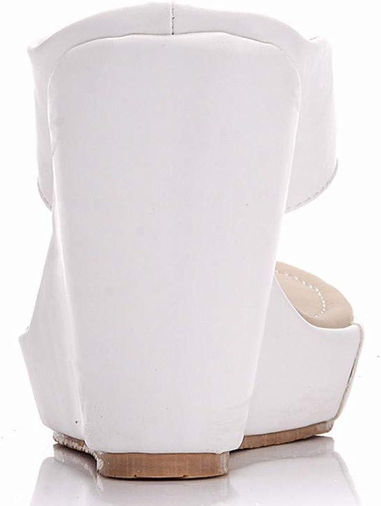 Womens High Wedges Flip Flops Platform Heel Espadrilles with Leopard Solid Color Flock Lace BaojunHT/®