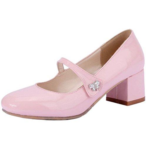 TAOFFEN Women Fashion Mid Block Heel Mary Janes Court Shoes Pink RDhkLZf