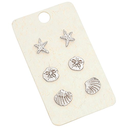 Gold Starfish Earrings (Rosemarie Collections Women's Beach Stud Earrings Set of 3