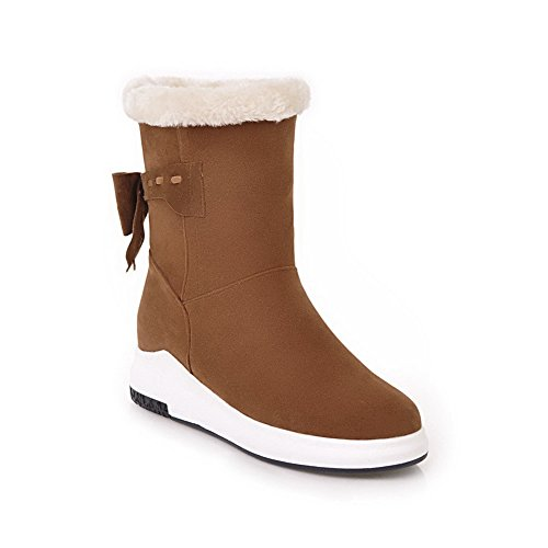 BalaMasa Womens Casual Travel Platform Comfort Wedges Suede Boots ABL09897 Brown