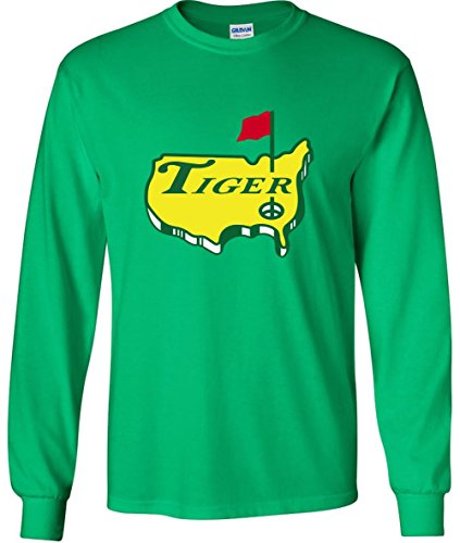 JM Shirts Long Sleeve Green The Masters Tiger Logo T-Shirt Adult (Shirt Tiger Woods)