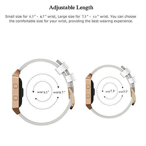 """Fitbit Blaze Bands Leather with Frame Small & Large (5""""- 7.1""""), AndyouGenuine Leather Replacement Band with Silver/Rose Gold/Black Metal Frame for Fitbit Blaze Women , White Small"""
