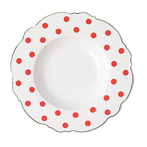 Salad Plates Plate Round Plate Ceramic Dishware Western Dessert Plate Pasta Plate 9-In Soup Plate Straw Hat Plate Golden Stroke Plates (Color : Red, Size : 23233.4cm)