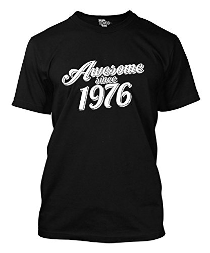 Awesome Since 1976 - 40th Birthday Gift Anniversary Men's T-shirt (3XL, BLACK)