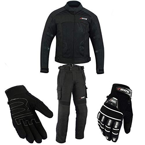 Motorradkombi Biker Motorrad Textil Kombi wasserdichte Jacke, Hosen (4XL, Schwarz)