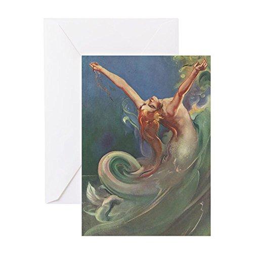 Artsy Edges - CafePress - Vintage 1930S Mermaid - Greeting Card, Note Card, Birthday Card, Blank Inside Matte