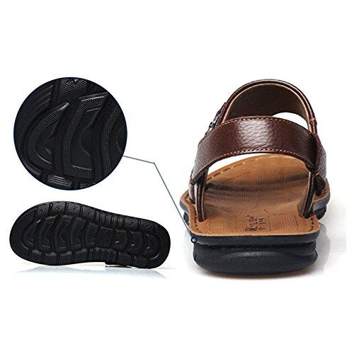 Real Brown2 De De Travel para Media Suela Walk Sandalias Verano Piel Sandalias Forro Y Correas De Neopreno Hombres De Gancho Lazo De Parte Zapatos Superior Vaca Spring De g41fpWz