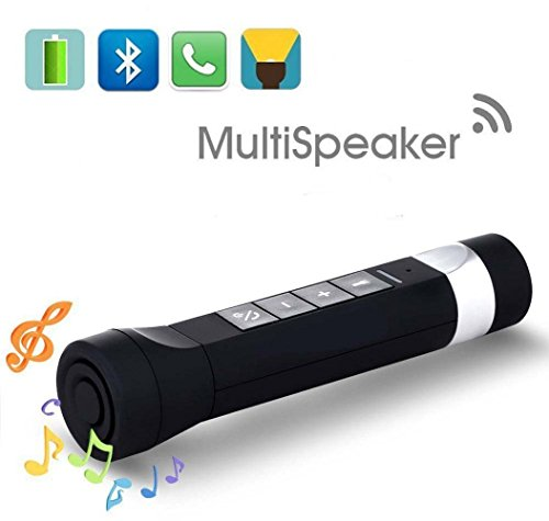 AMZSTAR Flashlight Playing Music Multi-Function Rechargeable Flashlight Torch/Wireless Bluetooth Speaker/Mobile Power Bank/LED Bicycle Headlight/Support FM Radio,TF Card,MP3 Player (Black)