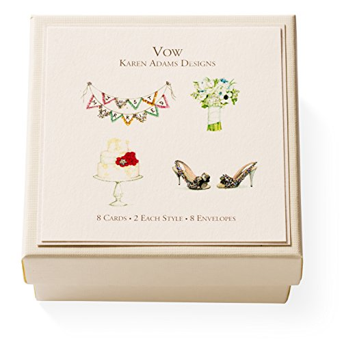 "Karen Adams""Vow"" Gift Enclosure Box of 8 Assorted Wedding Gift Cards with Envelopes"