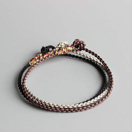 f654450c10 Amazon.com  TALE Tibetan Buddhist Hand-Braided Super Thin Lucky Knots Rope  Bracelet Blessed By Monk Black