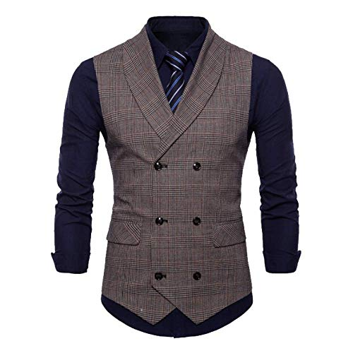 Casual Plaid Costume Gentleman Homme Robe Business Automne Printemps En Gilet Britannique Café Et Xdljl 8gCwYqq