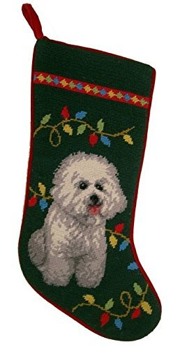 Christmas Stocking Bichon (Holiday Lights Bichon Frise Dog Needlepoint Christmas Stocking)