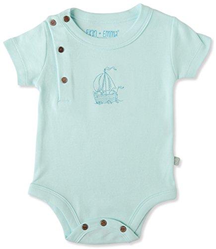 Finn + Emma Basic Cotton Short Sleeve Bodysuit Onesie for Baby Boy or Girl – Clearwater, 3-6 Months