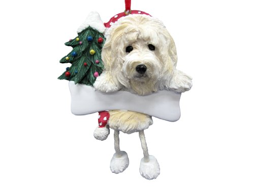 goldendoodle ornament with unique dangling legs hand painted and easily personalized christmas ornament - Goldendoodle Christmas Ornament