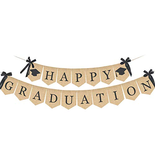 TOUGS Happy Graduation Banner, Rustic Vintage Graduation Decorations, Perfect for Graduation Party Supplies 2019 | Grad Party Decor for Home, College, Senior, High School Prom Decorations]()