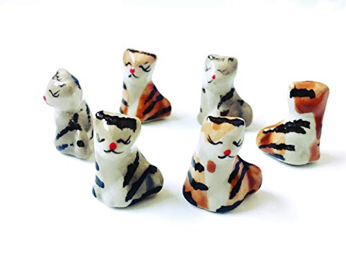 Tyga_Thai Brand Set 4 pcs. Miniature Ceramic Cats Kitten Animal Painted Figurine Statue Decorative Collectibles Multi Color