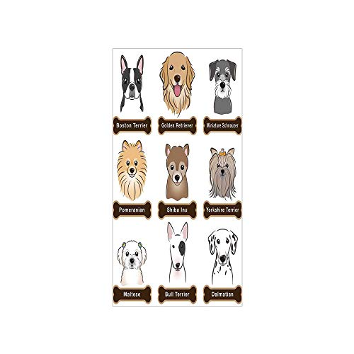 - 3D Decorative Film Privacy Window Film No Glue,Dog Lover Decor,Various Type of Dogs Nameplate Boston Terrier Domestic Animal Faithful Loyal,Grey Cream White,for Home&Office