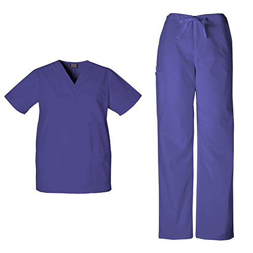 Cherokee Workwear Unisex V-neck Top 4876 and Cherokee Workwear Unisex Drawstring Cargo Pant 4100 (Grape - Small / Small Tall)