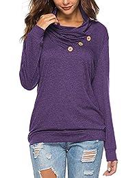 Women's Casual T-Shirt Long Sleeve Button Cowl Neck Tunic Sweatshirt Tops Blouse