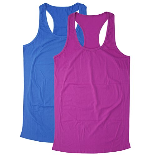 BollyQueena Yoga Tank Racerback, Womens Workout Tops Women's Exercise Fitness Gym Tops 2 Packs Purple&Blue L ()