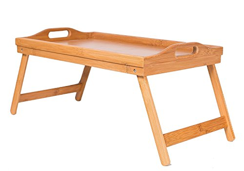 BirdRock Home Lap Desk Bed Tray | Bamboo | Handles | Foldable Breakfast Serving Tray | Pull Down Legs | Laptop Stand | Natural