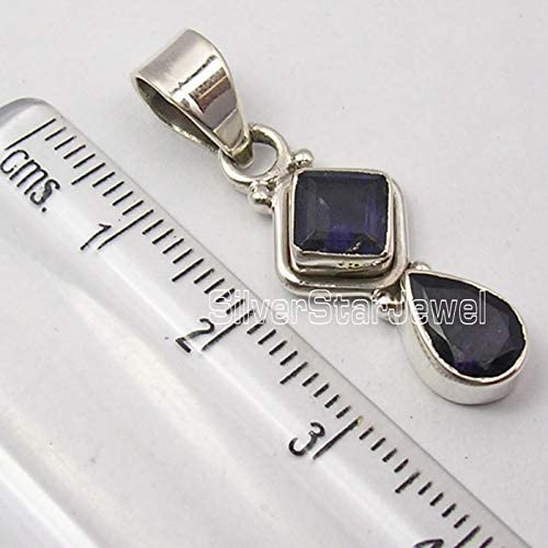 SilverStarJewel Solid Sterling Silver Facetted Iolite 2 Stone Pendant 1.3 Low Price